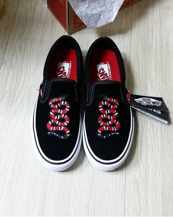 Custom Vans Shoes Embroiered Vans Snake Patch Gucci Snake