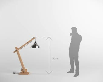 Articulated 140cm wooden architect lamp