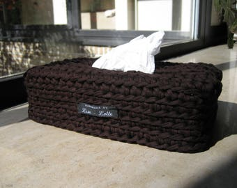 crochet dark brown cover cover for bar-shaped tissuesbox/crochet cover for tissues tissues/hand made