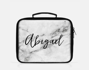 Grey Marble Lunch Box, Personalized Lunch Box, Grey Lunch Box, Monogram Lunch Box, Gray Lunch Box, Tumblr Aesthetic, Cute Lunch Box
