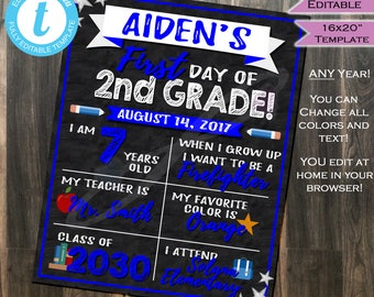 First day of School Sign Chalkboard- Class of 2030- Any Color- Any School Year- Personalize Digital Printable Template INSTANT Self EDITABLE