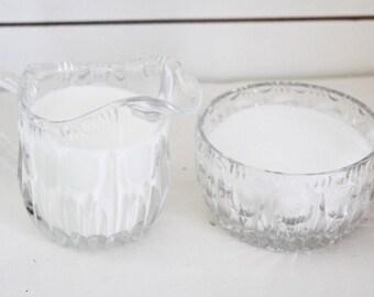 Vintage sugar bowl and milk pitcher, retro crystal glass, vintage cut glass, sugar bowl, milk pitcher, vintage creamer, vintage sugar bowl