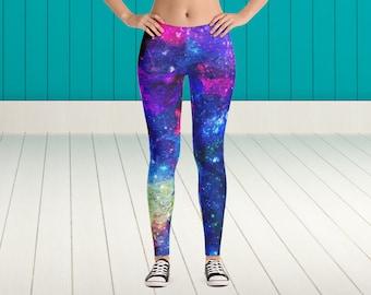 Deep Galaxy Leggings Galaxy Pattern Leggings Space Pattern Leggings Stars Pattern Leggings Deep Space Leggings Witty Novelty