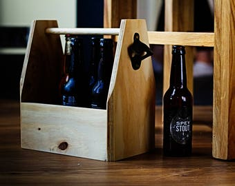 Wooden 'Spruce' Beer Caddy