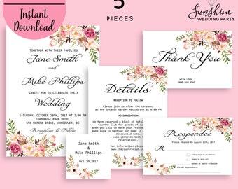 Wedding Invitation Template, Invitation Suite Template, Marsala Wedding Invitation, Editable Wedding Invite, Instant Download, Printable