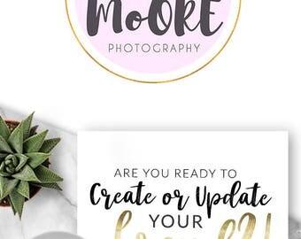 231 - April Moore, LOGO Premade Logo Design, Branding, Blog Header, Blog Title, Business, Boutique, Custom, Gold, Pink, Simple