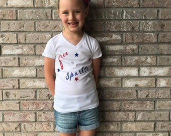 Free To Sparkle Tee- 4th Of July Shirt- Independence Day Shirt- Girls Patriotic Shirt- Cute 4th Of July Tee