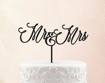 Cake topper for wedding, Custom Mr & Mrs name cake topper, rustic wedding cake topper, personalised mr mrs cake topper, cake topper gold 60