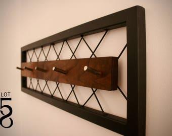"""36"""" - Steel - Walnut - Industrial Wall Coat Rack - Key Rack - Industrial Decor - Hat Rack - Modern - Steampunk"""