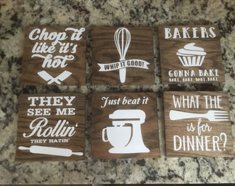 Wooden Kitchen Home Decor, Funny Kitchen Sayings, Personalized Wooden Sign Decor, what the fork, whip it good, chop it like it's hot