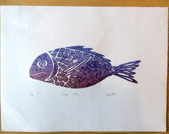 Purple Fish - Lino Print