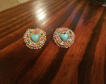 Native American beaded turquoise heart post earrings