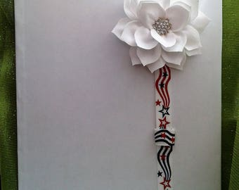 Elastic Planner Band, Pen holder, American, Patriotic, red white & blue, Independence day, July 4th