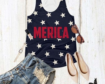 Merica 4th of July Independence Day Women's Trendy Graphic Fashionable Racerback Tank Top