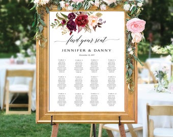 Wedding seating chart template, Wedding Seating Chart, Wedding seating poster, Navy seating chart, Seating chart, Alphabet chart, SC110
