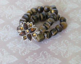 Vintage MONET bracelet - Tiger eye
