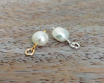 June Birthstone Pendant Pearl Sterling Silver or 14k Gold Filled Wire White Freshwater Pearl Add a Dangle Single Pearl Pendant Pearl Charm