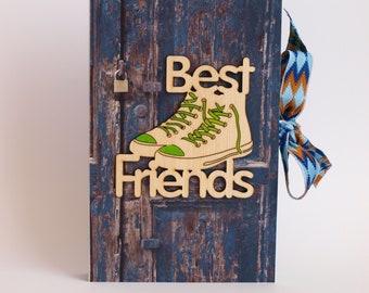 Handmade card box Best Friends Card Box book Paper book box Gift box Postcard book Money gift
