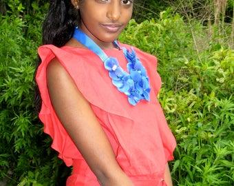 Blue Majesty Girls Floral Bib Inspirational Necklace