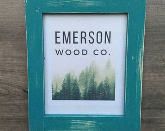 Distressed Photo Frame / Teal Wall Decor / Natural Wood Picture Frame / 5X7, 8X10, 8.5X11, 11X14
