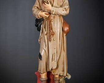 """RARE 18"""" Saint Benedict Joseph Labre Antique Plaster Statue Vintage St Figurine St Benedictus"""