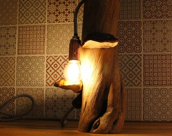 Handcrafted wooden base lamp