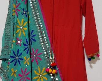 Turquoise Phulkari fulkari with multicolour Embroidered georgette dupatta (scarf), bridal wear, party wear, suit, lehenga, anarkali