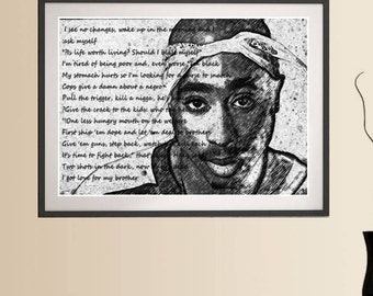 2pac wall art etsy for Baby boy tupac mural