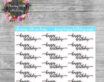 Fancy Happy Birthday Script Stickers