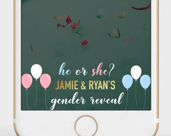 Gender Reveal Snapchat Filter | He or She Filter | Pink or Blue Geofilter | Girl or Boy Snapchat Filter | Balloon Gender Reveal Filter |