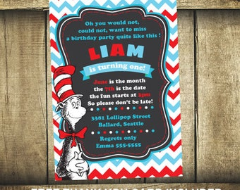 24hrs Turn around time, Cat in the Hat party, Cat in the hat invitation, Dr seuss invitation, Cat in the hat invite, Dr seuss birthday card