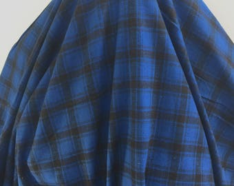 Royal Blue and Black Plaid Flannel - Sold by the Yard