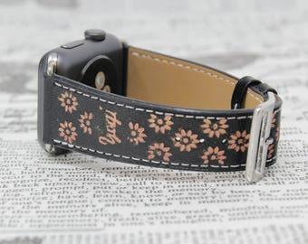 Leather Apple Watch Band Women, 38mm, 42mm, Monogram Apple Watch Strap, Designer iWatch Band Series 3, Floral iWatch Strap, iWatch Strap