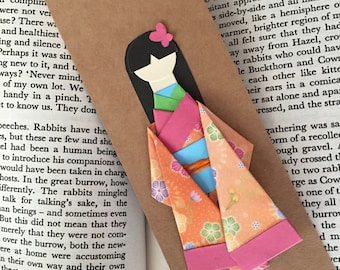 washi origami paper doll and bookmark japanese craft kimono