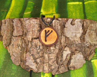 "Soul slices ""Rune Fehu"" wooden necklace, Vintage * Ethno * hippie * MUST have * statement *"