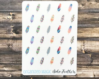 boho feather planner stickers, feather stickers, bird stickers