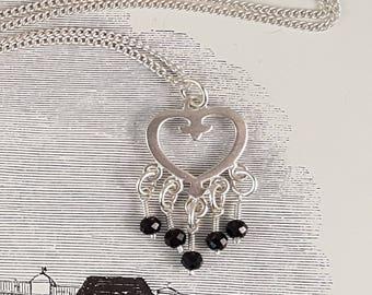 Black spinel sterling silver heart necklace