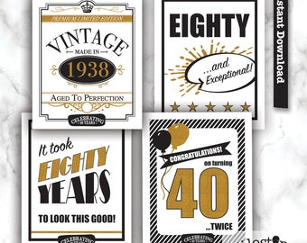 80th party sign, 80th birthday printable, 1938 sign
