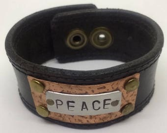 Black Leather Cuff Bracelet for women with PEACE design. Leather metal cuff Leather Bracelet Boho Jewelry Copper cuff Gift for her