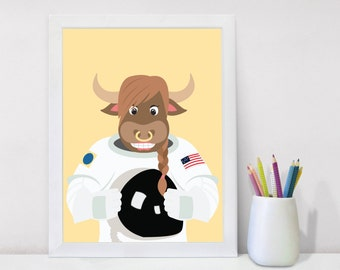 Gifts for Her, Nursery Wall Decor Nursery Decor Animal Posters, Nursery Wall Art Large Poster Nursery Gift Astronaut, Wall Decor Kids Decor