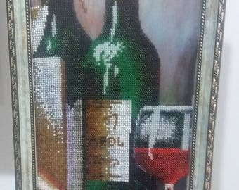 Two bottles of wine with a glass. Hand Made.  Picture-wine.  Embroidered beads .