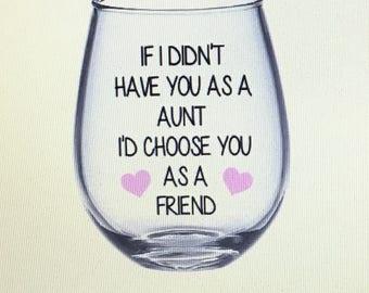 Aunt wine glass. Aunt gift. Auntie wine glass. Auntie gift. Gift for aunt. Best aunt gift.