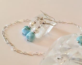 Genuine larimar and pearl earrings, larimar earrings, pearl earrings, larimar jewelry, pearl jewelry, blue stone earrings, petite, June