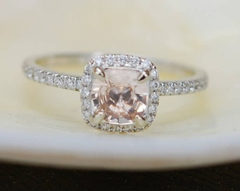 Engagement Ring Promise ring Cushion Engagement Ring Peach Sapphire Engagement ring white gold ring by Eidelprecious FREE Shipping