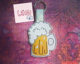 Cool Beer Mug Key Fob Snap Tab Embroidery Design 4X4 size. Hope Key Fob
