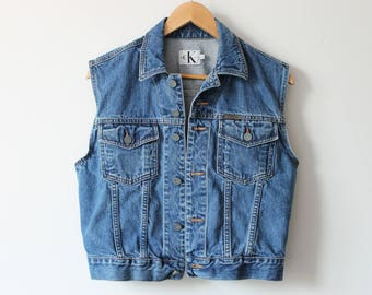 Vintage Calvin Klein Denim Vest Jacket Sleeveless Festival Medium Wash 90s Large