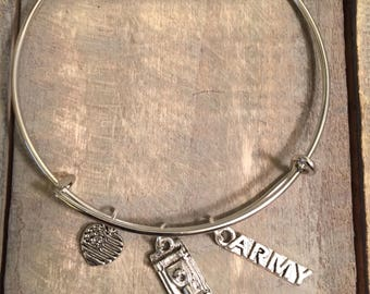 US Army Bangle Charm Bracelet, Army, Tank , Made In America, US Military, Army Support, Support Our Troops