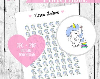 Unicorn Pooping, Printable Stickers, Planner stickers, Unicorn stickers, Kawaii printables, Cute planner stickers, Rainbow unicorn stickers