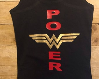 Power racerback tank, wonder woman tank, summer tank, fit mom