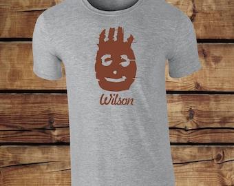 Wilson T-shirt - Castaway Football T-shirt - Wilson Football Tee - Castaway Tom Hanks Wilson Tee Top Funny Clothing Humour Tee